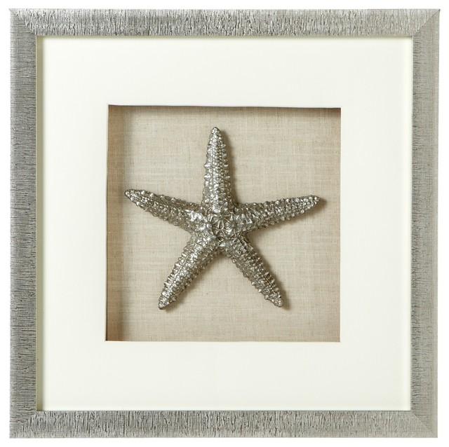 Large Silver Starfish Shadow Box Wall Decor.
