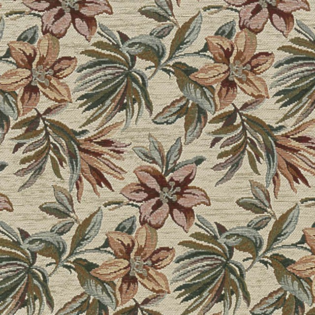 Red Green And Ivory Floral Chenille Upholstery Fabric By