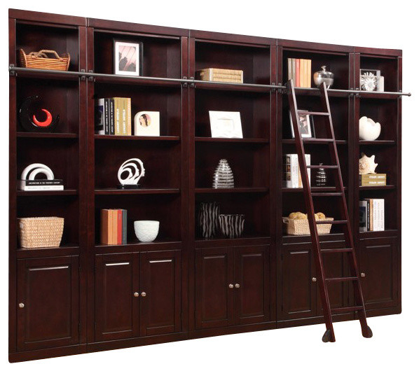 Parker House, Boston Inset Library Wall Bookcase, Merlot
