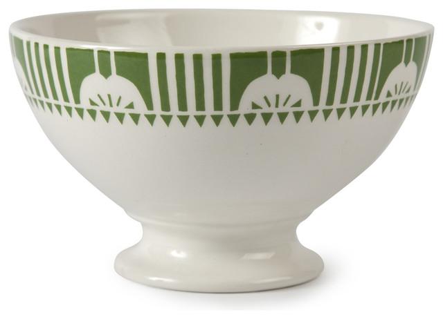 Vintage Deco Au Lait Bowls, Green, Set of 8