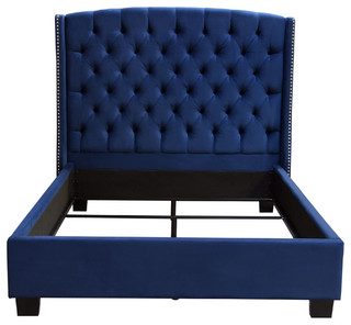 Majestic Tufted Bed With Nail Head Wing Accents, Royal Navy Blue, Queen