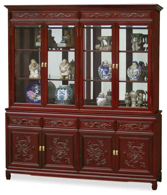 "72"" Rosewood Imperial Dragon Design China Cabinet"