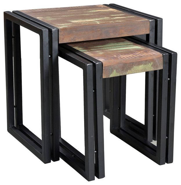 Timbergirl Old Reclaimed Wood Metal Nesting Table Set Of 2