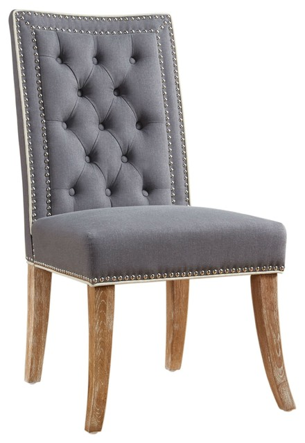 linen dining chairs studded garrett gray linen dining chair farmhouse chairs by