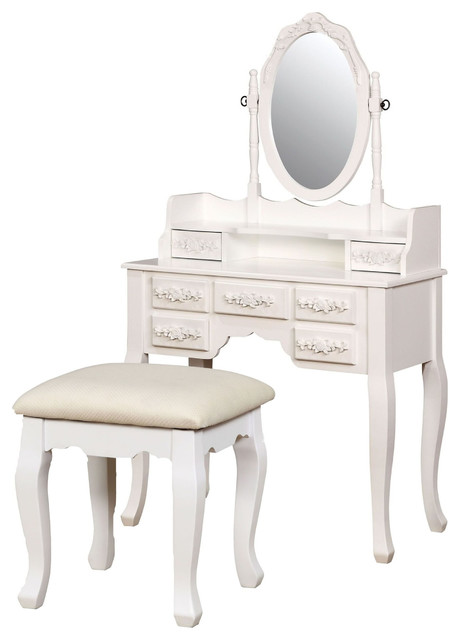 Bedroom Makeup Table Mirrored Vanity Set With Stool, White