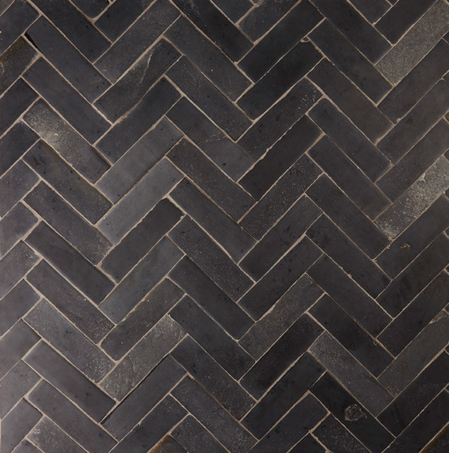 Nero Parquet Black Limestone Herringbone Floor Tiles