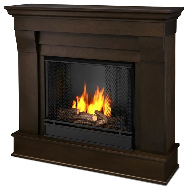 Shop houzz real flame chateau gel fireplace walnut for Indoor corner fireplace