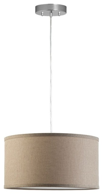Messina 1 Light Drum Pendant Lamp With Chrome Canopy Natural Linen