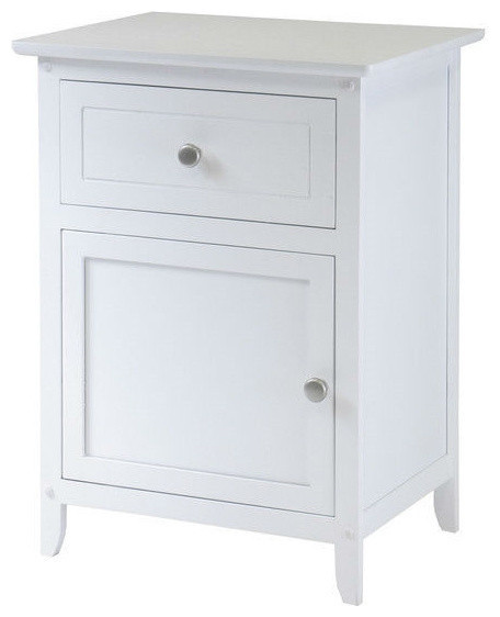 White 1-Drawer Bedroom Bedside Table Cabinet Nightstand End Table.