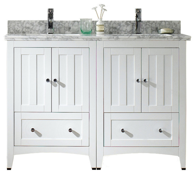 "Plywood-Veneer Vanity Set, White, 47.5""x18""."