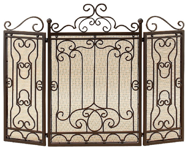 Harrington Wrought Iron Fire Screen Mediterranean Fireplace Screens By Aspire Home Accents