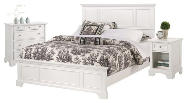 Elegant Home Styles Furniture   Naples Cream White Queen Bed, Nightstand, And  Chest, Queen