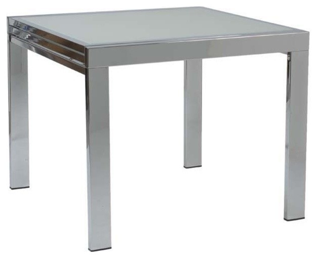 Eurostyle Duo Square Dining Table w/ Chrome Base & Frosted Glass ...