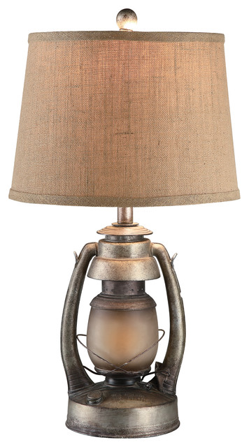 Antiqued Oil Lantern 26 3/4 Table Lamp With Night Light.