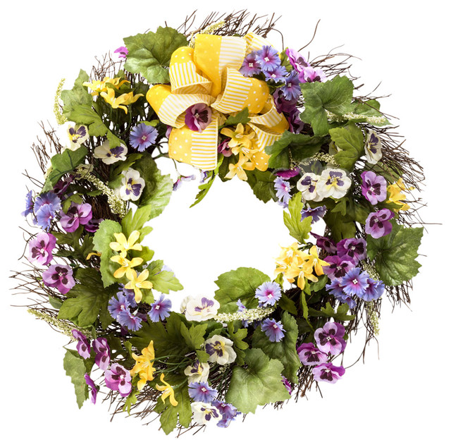 Petals Pansy And Dianthus Silk Flower Wreath View In