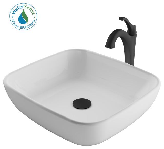 Elavo Square Ceramic Vessel Sink, Bathroom Arlo Faucet, Drain, Matte Black