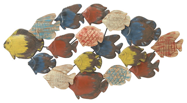 Adorable Metal Wood Fish Wall Decor Beach Style Metal Wall Art
