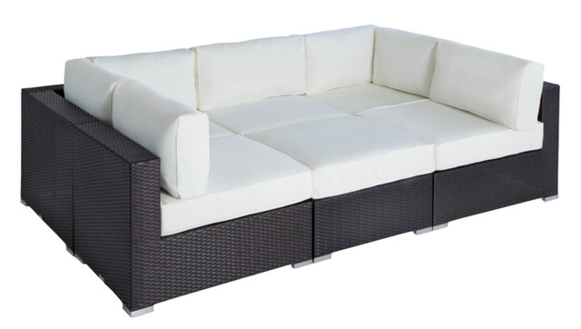 Outdoor Wicker Furniture Sofa Sectional 6-Piece Resin Couch Set.