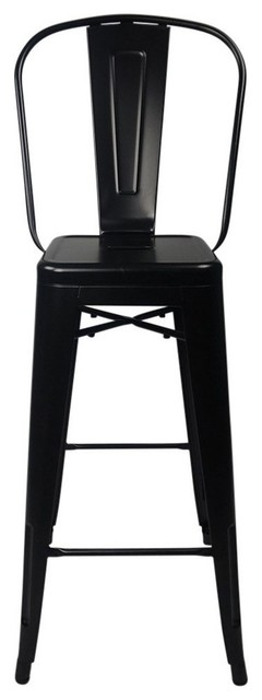 Outstanding Tolix Style Bar Stool High Back Chair Black Set Of 4 Gmtry Best Dining Table And Chair Ideas Images Gmtryco