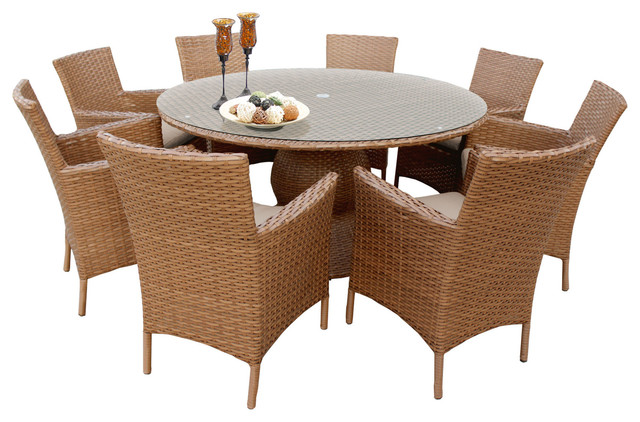Tuscan 60 Outdoor Patio Dining Table With Chairs 9 Piece Set