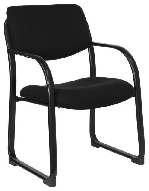 Fabric Side Chair With Sled Base, Black.