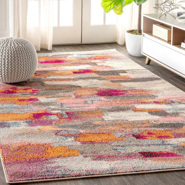 Contemporary Pop Modern Abstract Brushstroke Area Rug Contemporary Area Rugs By Jonathan Y Houzz