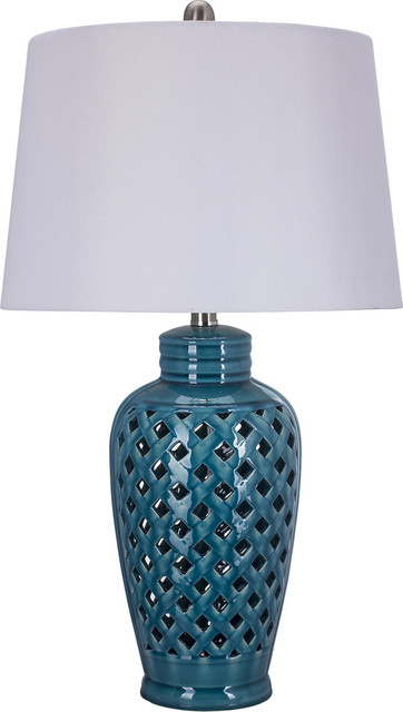 White Ceramic Table Lamp With Lattice Design Contemporary Table