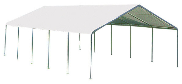 18&x27;x30&x27; Canopy, 2 12-Leg Frame, White Cover, Fr Rated.