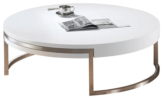 Ross Coffee Table. High Gloss White Metal Frame With Brushed Nickel Finish.