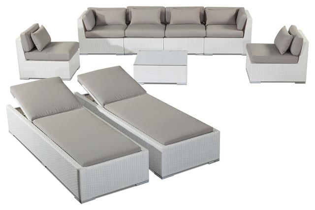 Outdoor Patio Aloha Maui 9 Piece Sofa Set and Chaise Lounge White