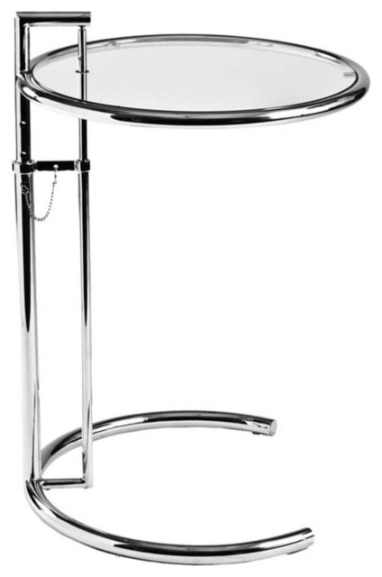Wonderful Eurostyle Round Glass Side Table W/ Adjustable Height Side Tables And End