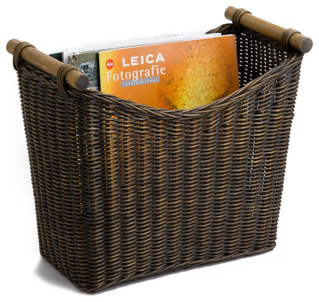 Tall Narrow Storage Basket: Narrow Wicker Magazine Basket