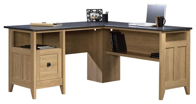 August Hill L Desk Dover Oak
