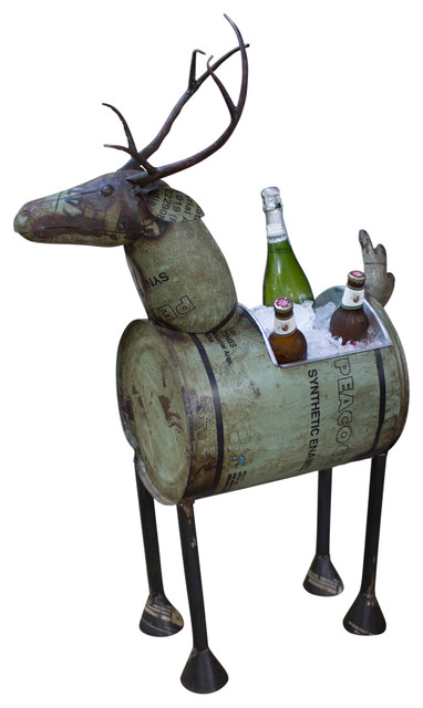 Reclaimed Metal Barrel Deer Planter Or Wine Cooler By