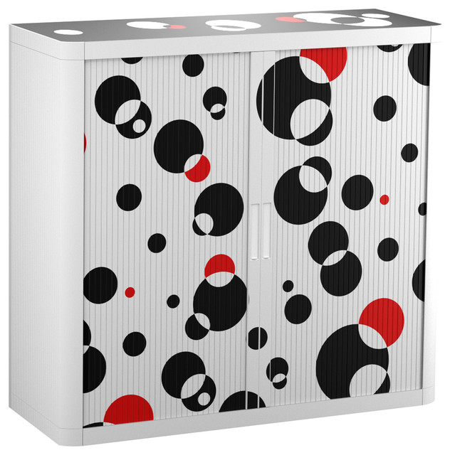 Paperflow Easyoffice Storage Cabinet, 41 Tall, Two Shelves, Black And Red.
