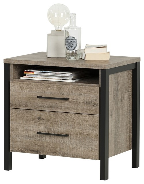South Shore Furniture Munich 2 Drawer Nightstand  Transitional Nightstands And Bedside