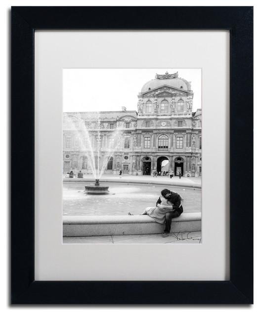 """Paris Kiss"" Framed Art by Yale Gurney, Black, White, 11""x14"""