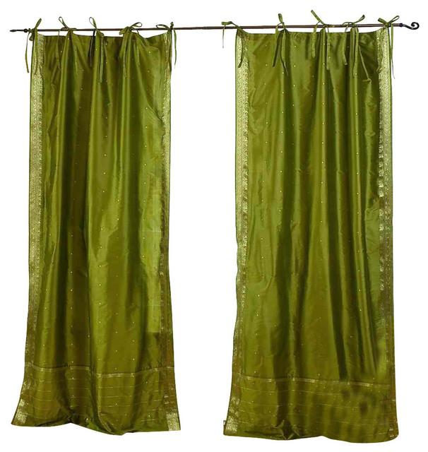 Olive Green Tie Top Sheer Sari Curtain Panels Set Of 2