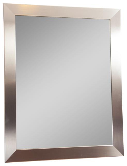 "Modern Silver Wall Mirror, 32""x36""."