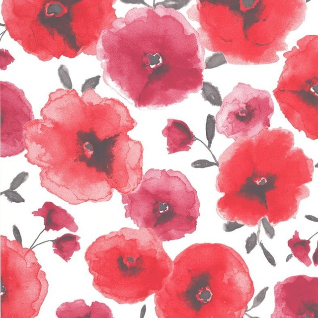 Poppies Wallpaper, Red