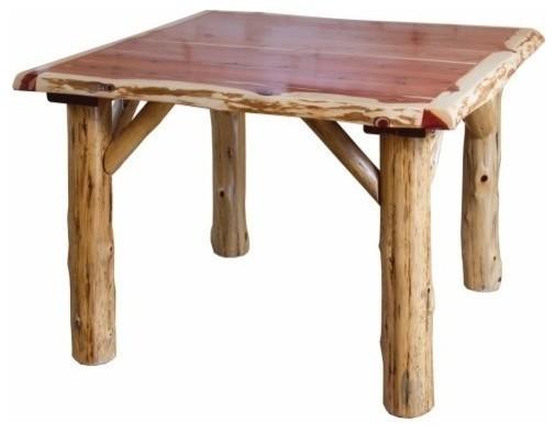 Rustic Red Cedar Log Family Dining Table, 42x84