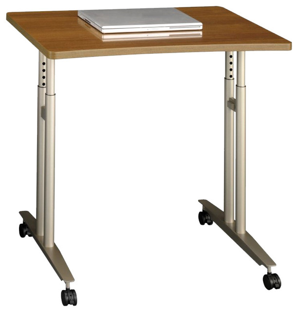 Nice Bush Series C Adjustable Height Mobile Table In Warm Oak  Transitional Desks And