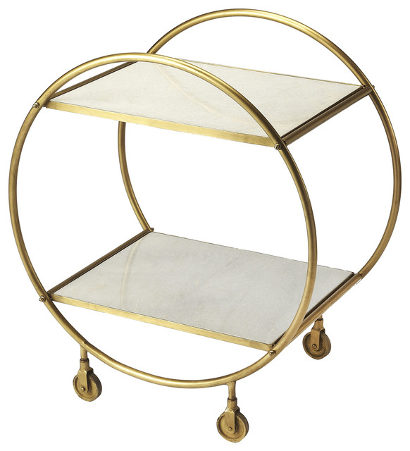 Orian Serving Table - Marble, Metal.