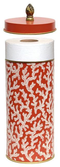 Allen g designs white ocean coral bathroom paper holder beach style toilet paper holders - Beach toilet paper holder ...