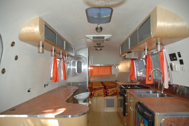 Clean Contemporary Interior In Vintage Airstream Trailer ...
