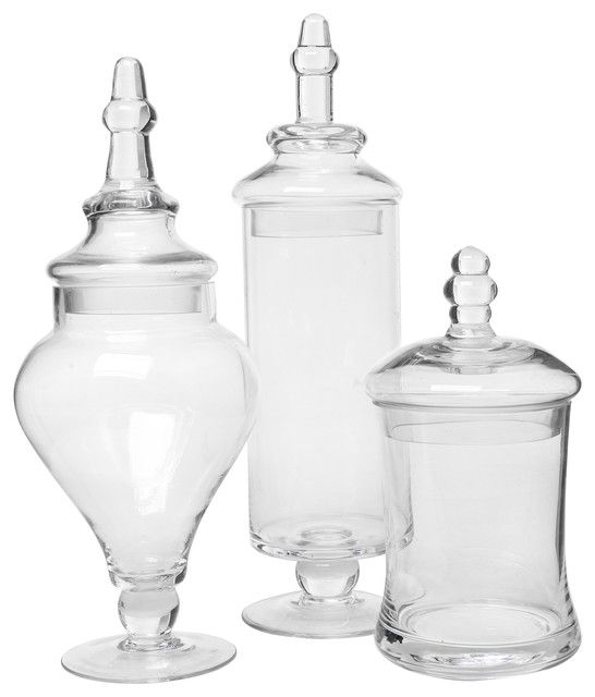 Clear glass apothecary jars 3 piece set traditional for Small bathroom jars