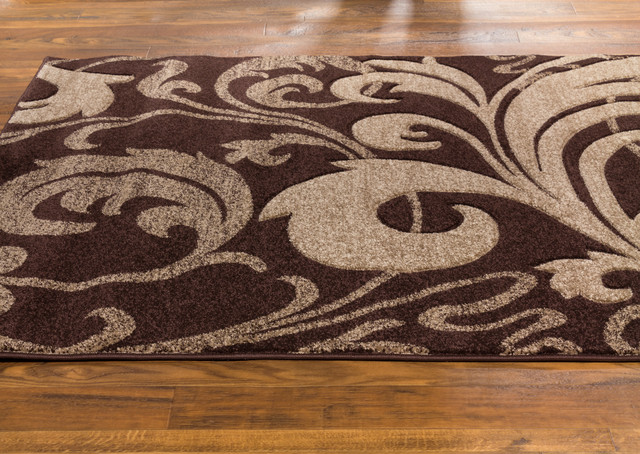 Well Woven Ruby Leslie Fleur De Lis Area Rug Brown Contemporary