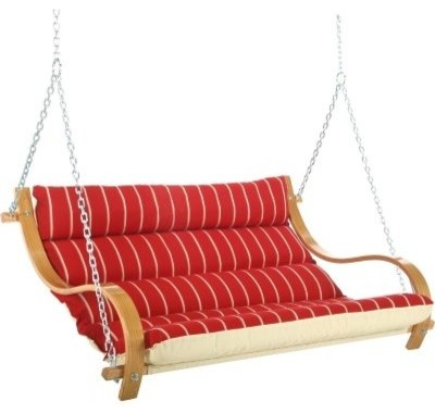 Deluxe Cushioned Double Swing Royal Red Stripe