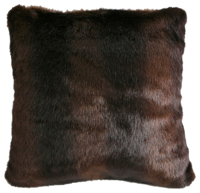 Faux Brown Bear Fur Pillow.