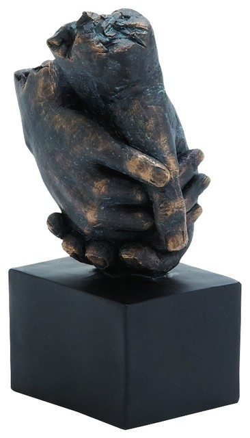 Clasping Hands Sculpture Weathered Bronze Display Block Stand Accent Decor 58299.